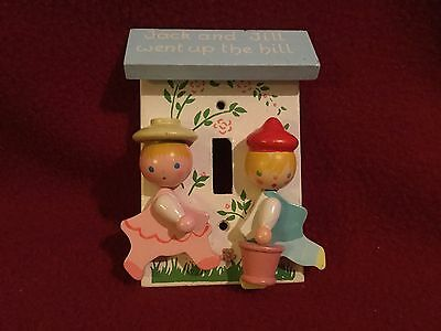 """Vintage Children's 3-D Wood Light Switch Cover """"Jack and Jill"""""""