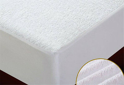 Waterproof  Bed Fitted  Mattress Protector Sheet White Queen Size