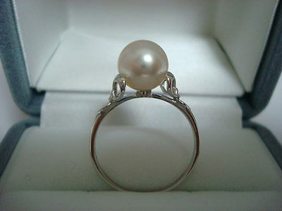"Authentic  ""MIKIMOTO"" 14k White Gold  8.4mm Akoya  Pearl  Ring"