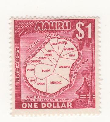 "1966 NAURU Australia $1 Mauve "" MAP OF NAURU OR PLEASANT ISLAND "" G#79 Mint MUH"