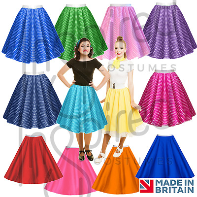 ROCK N ROLL SKIRT Ladies POLKA DOT 1950's Grease Hairspray FANCY DRESS COSTUME