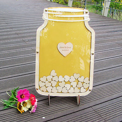 Personalized Mason Jar Wooden Wedding Guest Book Box Frame Guest Wood Drop Top
