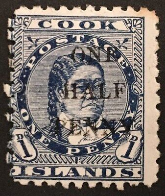 COOK ISLANDS. 1899. QV. SG 21 . Mint Hinged Stamp, with 1/2d Overprint.