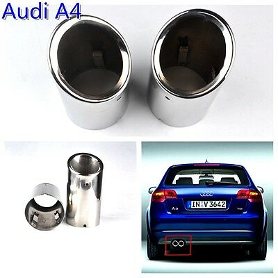 2 Pcs Stainless Steel Chrome Exhaust Tail Muffler Tip Pipe Fit  Audi A4 B8 Q5 8R