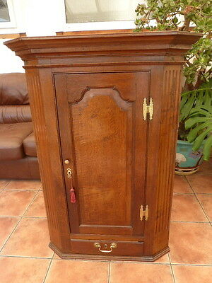 Rustic  Country Oak  Corner Cupboard Circa 1740   Free Shipping