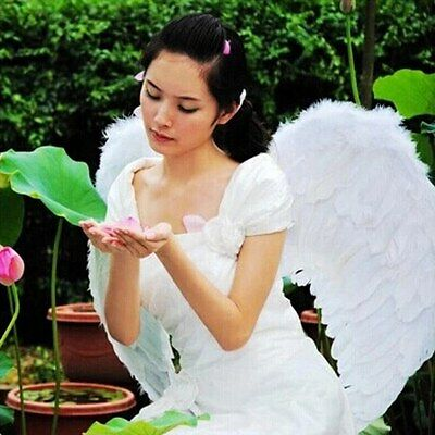 Adult Kid Angel Wings Fancy Dress Fairy Feather Costume Outfit Party Cosplay HOT