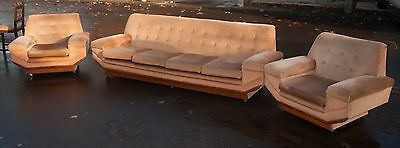 Retro Style 4 Seat Sofa & 2 Matching Archairs