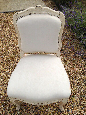 WONDERFUL FRENCH ANTIQUE LOUIS XV STYLE UPHOLSTERED OCCASIONAL CHAIR c.1880s