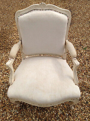 SUPERB FRENCH ANTIQUE LOUIS XV STYLE UPHOLSTERED ARMCHAIR c.1880s