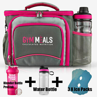 Womens Meal Prep Management Bag Six Pack Food Iso Fitness Gym Lunch Cooler PINK
