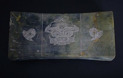 Chinese LiangZhu Style Carved Symbols God Face Pattern Large Jade Pillow-JR12502