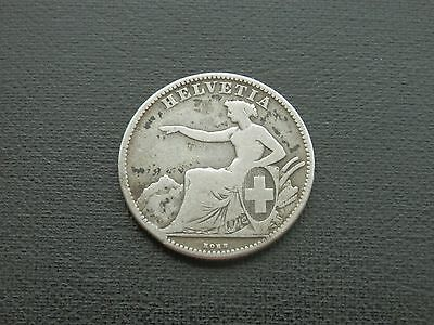 1863B Switzerland 2 Franken [Francs] - EXTREMELY RARE - KEY DATE - 0.800 SILVER