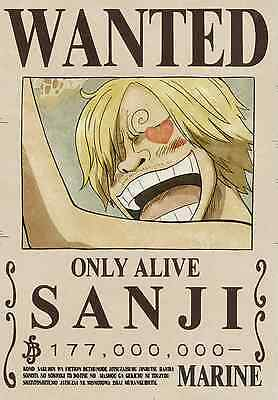Poster A3 One Piece Sanji Recompensa Wanted Cartel Se Busca