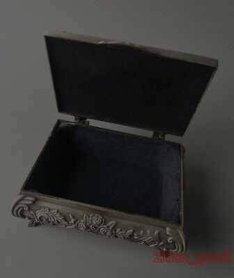 Exquisite Old Decorated Handwork Miao Silver Carving belle big Jewel Box CZ279