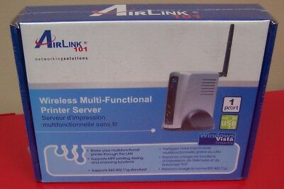 NEW AirLink 101, AMPS230 One Port Wireless MultiFunctional Printer Server, New