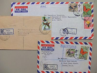 Three registered covers with BUTTERFLY stamps