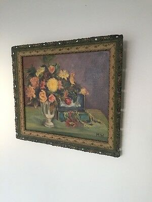 VINTAGE OIL PAINTING FLOWERS IN A VASE SIGNED Antique Still Life Art