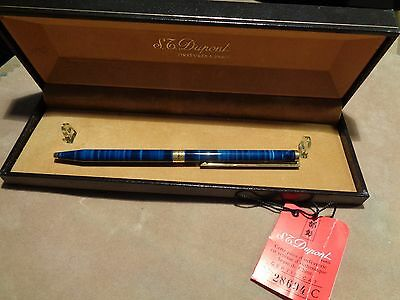 S.t. Dupont Penna A Sfera Lacca Cina Blu Ballpoint Pen Chinese Lacquer New