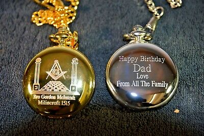 MASONIC PERSONALISED POCKET WATCH YOUR OWN NAME AND LODGE No PLUS FREE MESSAGE