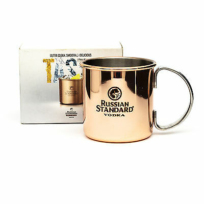 Boxed Russian Standard Vodka Mug Metal Gold Copper Branded Drink Camping Outdoor