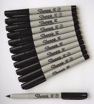 NEW 1,2,3,4,5,10 SHARPIE Black ULTRA FINE Point Bullet Tip Permanent Marker Pens