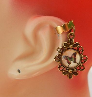 Butterfly Charm Drop/Dangle Ear Cuff Handmade Jewelry Gold Accessories New