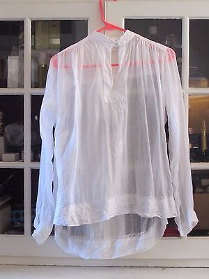 Vintage Creme to Ivory Lace 1960's Blouse Pullover Embroidered Medium