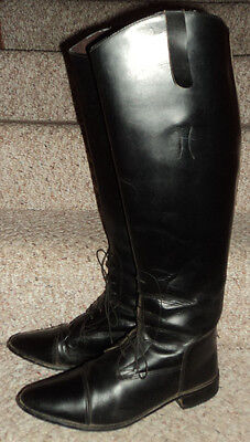 Ladies Black Leather Cambridge II Field English Riding Boot Size 9 W Made in USA