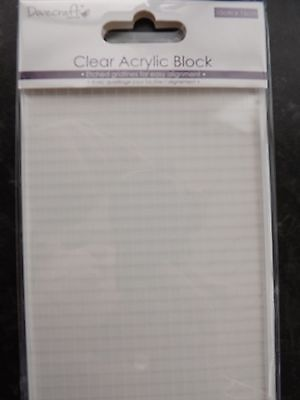 Dovecraft Large Acrylic Rectangle Block 10cm x15cm use with Clear Rubber Stamps