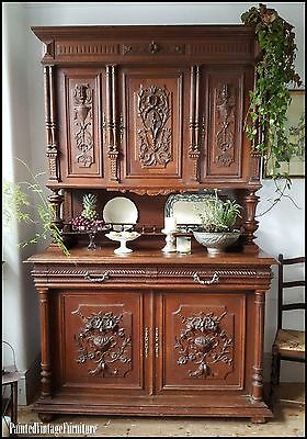 Stunning Antique Carved Continental French Dresser Buffet