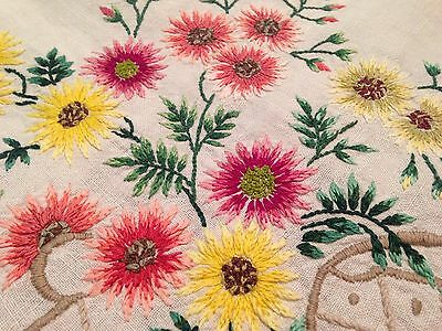 Vintage Hand Embroidered Cream Linen Tablecloth VASES OF ASTERS