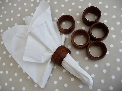 Set Of 6 Vintage Solid Teak Napkin Rings - Great Condition