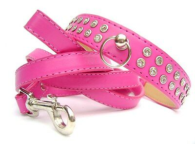 Luxury Diamante Dog Collar and Lead Set Rhinestone Crystal Bling PU Leather
