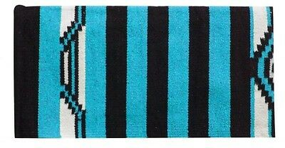 "32"" x 64"" TEAL Acrylic Top Western Saddle Blanket W/ Navajo Design! HORSE TACK!"