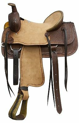 """16"""" DARK Blue River Roping Saddle W/ Rough Out Leather & Basket Weave Tooling!"""