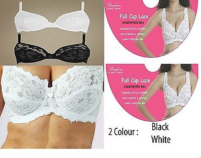Under Wired Non-Padded Lace Full Cup Support Bra,black & White,34 -44, B-Dd