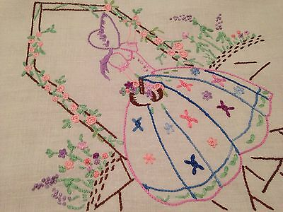 Vintage Hand Embroidered White Linen Tablecloth CRINOLINE LADIES And ROSES