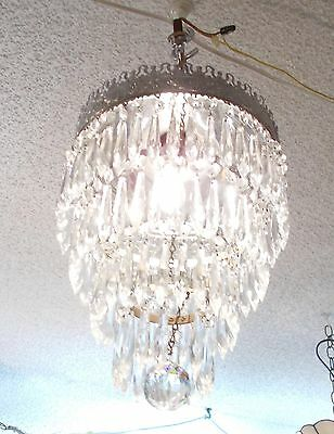 """Magnificent """"Majestic"""" Mid Century Chrome Crystal Prism Chandelier"""
