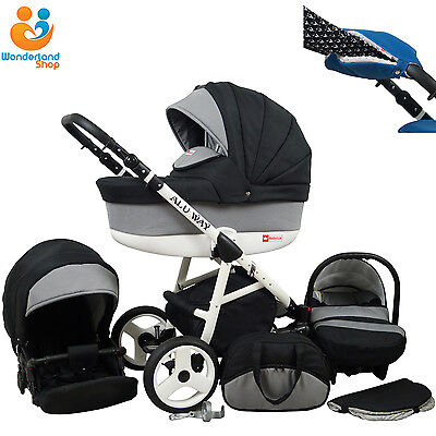 Baby Pram Stroller Pushchair Car Seat Carrycot Travel System Buggy 10 COLOURS