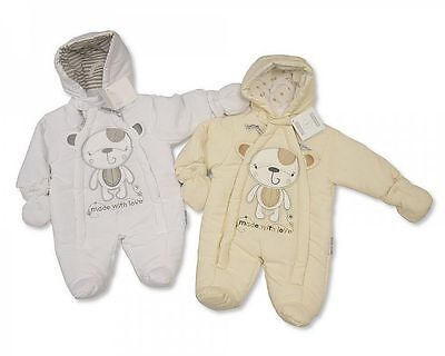 Baby Snowsuit Pramsuit 'Made with Love' - Sizes Tiny Baby and Newborn - 386