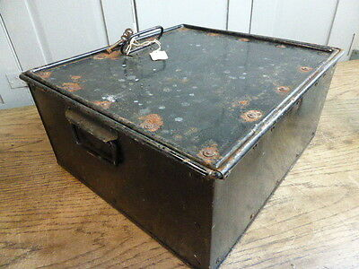 Antique industrial style metal fireproof strong box or deed box + keys • £50.00