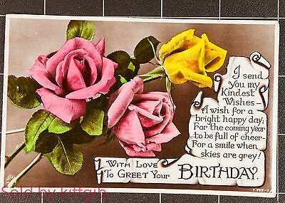 1948 birthday postcard with pink roses The Rotary Photo Co