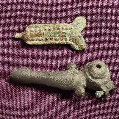 Two interesting Roman bronze Phallic belt decoration