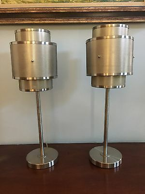 Pair Cool Metal Retro Table Lamps New Mid-Century Modern