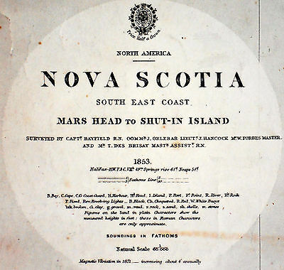 1855 Antique Sea Sailing Chart Map Halifax Bedford Dartmouth Nova Scotia Canada