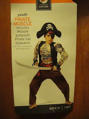 MUSCLE PIRATE HALLOWEEN COSTUME Jump SUIT w Hat & Eye Patch ~ NEW ~ YOUTH Medium