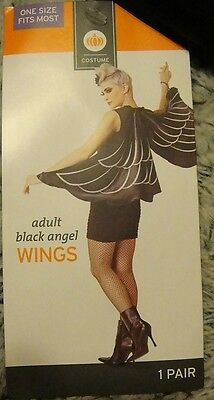 BLACK ANGEL WINGS HALLOWEEN COSTUME Accessory ~ NEW ~ ADULT 1 Size Fits GOTHIC