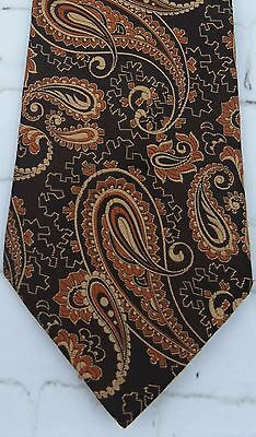 Vintage 1970s Brown / Copper Paisley Pattern Tie by St Michael DK24
