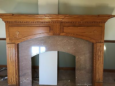 Oak And Marble Fireplace Mantle