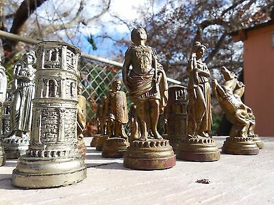 Vintage Depose Italy Chess Pieces Complete Roman